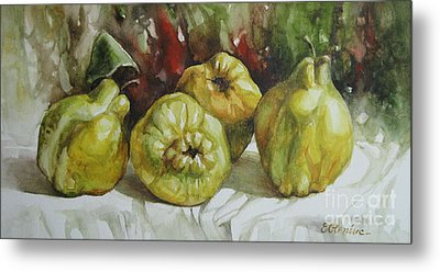 Metal Print featuring the painting Quinces by Elena Oleniuc