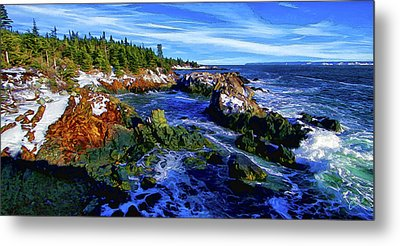 Quoddy Coast With Snow Metal Print