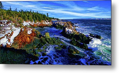Quoddy Coast With Snow Metal Print by ABeautifulSky Photography