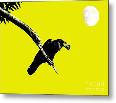 Quoth The Raven Nevermore . Yellow Metal Print by Wingsdomain Art and Photography