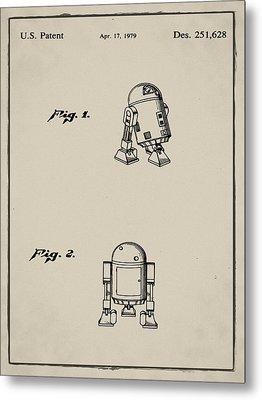 R2d2 Patent 1979 In Sepia Metal Print