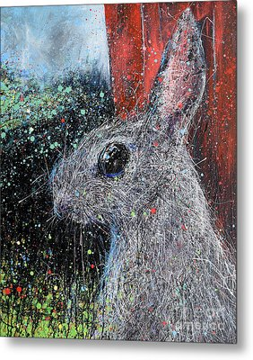 Rabbit And Barn Metal Print by Michael Glass