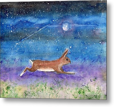 Metal Print featuring the painting Rabbit Crossing The Galaxy by Doris Blessington