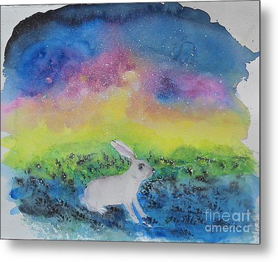 Metal Print featuring the painting Rabbit In Galaxy 5 by Doris Blessington