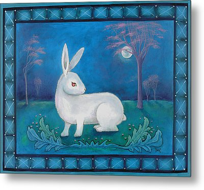 Metal Print featuring the painting Rabbit Secrets by Terry Webb Harshman