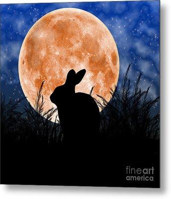 Rabbit Under The Harvest Moon Metal Print by Elizabeth Alexander