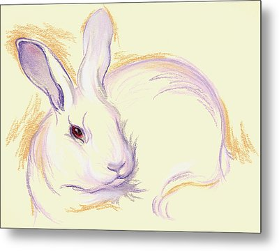 Metal Print featuring the pastel Rabbit With A Red Eye by MM Anderson