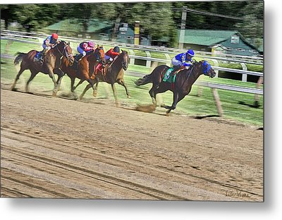 Race Horses In Motion Metal Print by Lise Winne