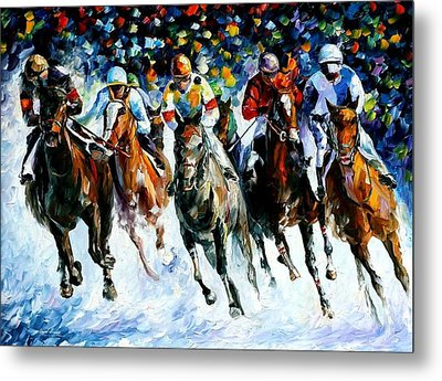 Race On The Snow Metal Print by Leonid Afremov