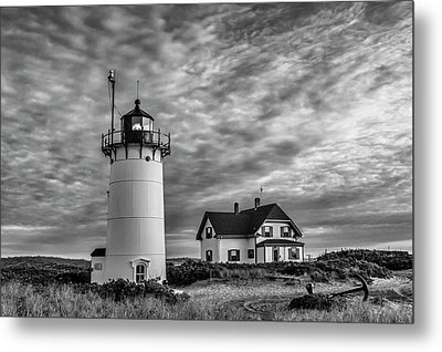 Race Point Lighthouse Sunset Bw Metal Print by Susan Candelario