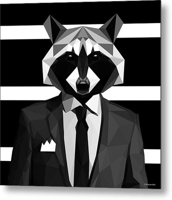 Racoon Metal Print by Gallini Design