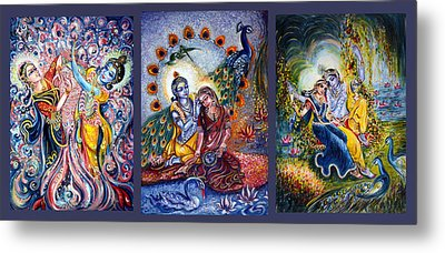 Radha Krishna Cosmic Leela Metal Print by Harsh Malik