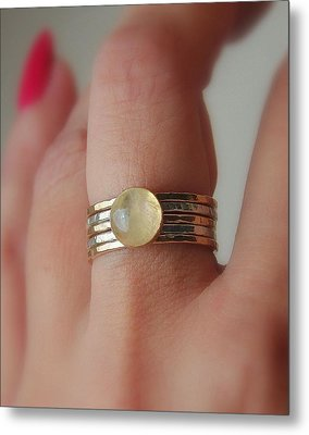 Radiating Moonstone Cabochon Sterling Silver And 14k Gold Filled Artisan Crafted Stackable Rings Metal Print by Nadina Giurgiu