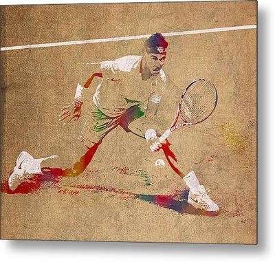 Rafael Nadal Tennis Star Watercolor Portrait On Worn Canvas Metal Print by Design Turnpike