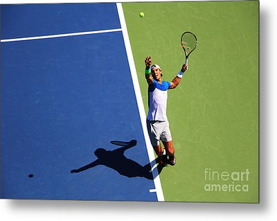 Rafeal Nadal Tennis Serve Metal Print