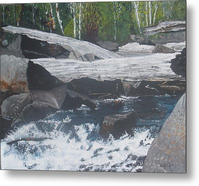 Metal Print featuring the painting Ragged Falls by Betty-Anne McDonald