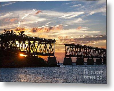 Rail Bridge At Florida Keys Metal Print