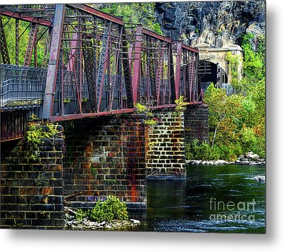 Rail Road Bridge Over The Potomac River At Harpers Ferry, Wv Metal Print by Elijah Knight