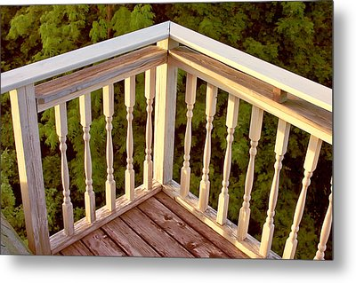 Metal Print featuring the painting Railing Sunset Bar Harbor by Larry Darnell