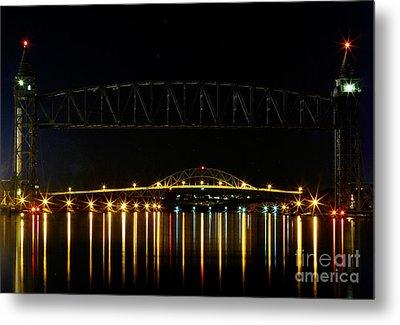 Railroad And Bourne Bridge At Night Cape Cod Metal Print by Matt Suess