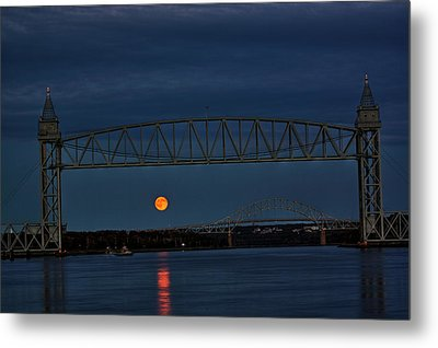 Metal Print featuring the photograph Railroad Bridge Over A Full Moon by Greg DeBeck