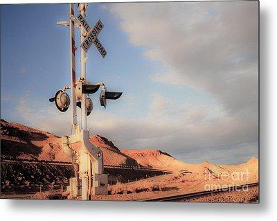 Railroad Crossing Tint Metal Print by Vance Fox