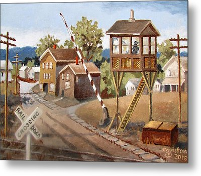 Railroad Crossing Metal Print by Tony Caviston