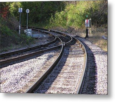 Railroads Merging Metal Print by Richard Mitchell