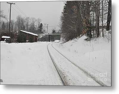 Metal Print featuring the photograph Rails In Snow by John Black