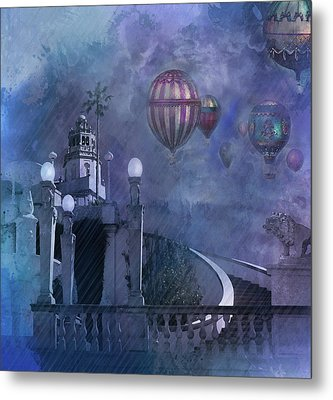 Rain And Balloons At Hearst Castle Metal Print