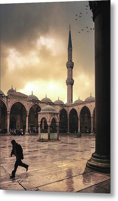 Rain At The Blue Mosque Metal Print by Marji Lang