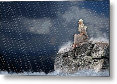 Metal Print featuring the mixed media Liquid Rain by Marvin Blaine