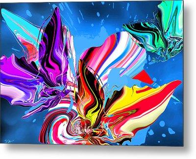 Rain Dancing Butterflies With Hummingbird Metal Print by Abstract Angel Artist Stephen K