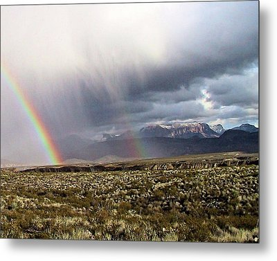 Metal Print featuring the painting Rain In The Desert by Dennis Ciscel