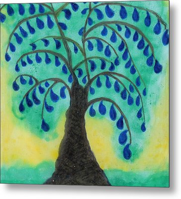Rain Drop Umbrella Tree Metal Print