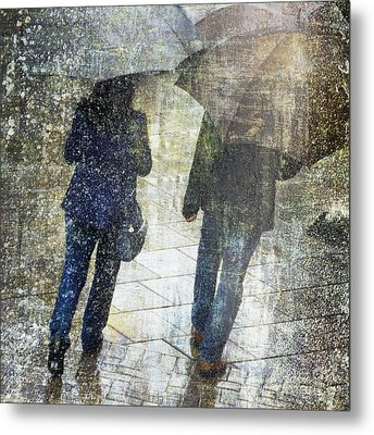 Rain Through The Fountain Metal Print