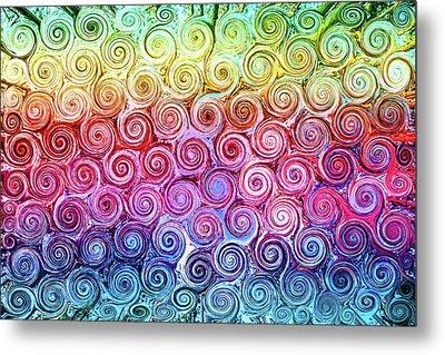 Rainbow Abstract Swirls Metal Print