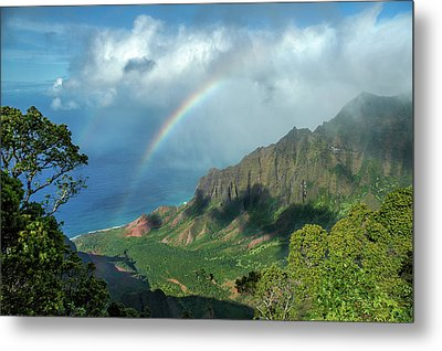 Rainbow At Kalalau Valley Metal Print by James Eddy