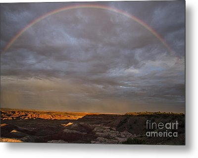 Metal Print featuring the photograph Rainbow At Sunset by Melany Sarafis