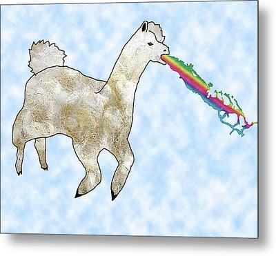 Rainbow Barfing Llama Metal Print
