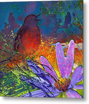 Rainbow Bird Song Metal Print by LeAnne Perry