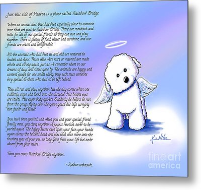Rainbow Bridge Bichon Angel Metal Print