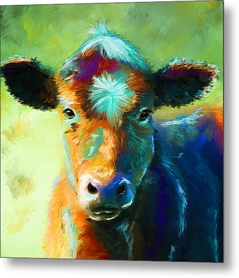 Rainbow Calf Metal Print by Michelle Wrighton