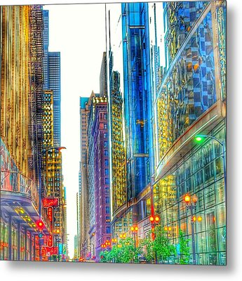 Metal Print featuring the photograph Rainbow Cityscape by Marianne Dow