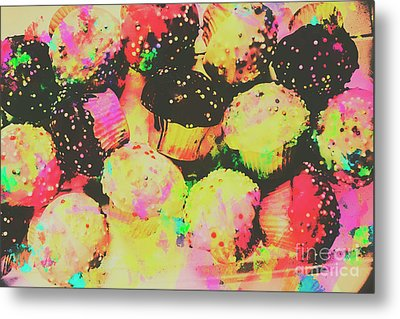 Rainbow Color Cupcakes Metal Print