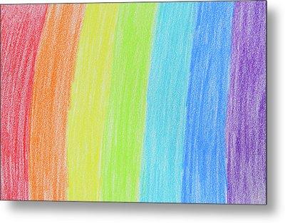 Rainbow Crayon Drawing Metal Print by GoodMood Art