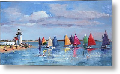 Rainbow Fleet Parade At Brant Point Metal Print by Trina Teele