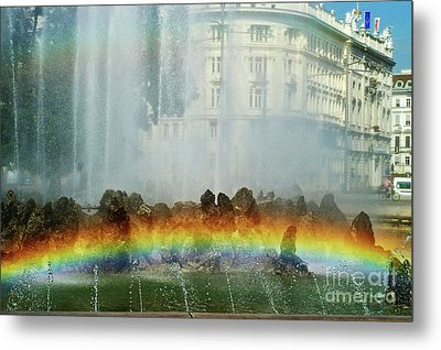 Metal Print featuring the photograph Rainbow Fountain In Vienna by Mariola Bitner