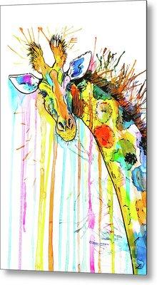 Metal Print featuring the painting Rainbow Giraffe by Zaira Dzhaubaeva
