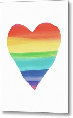 Rainbow Heart- Art By Linda Woods Metal Print